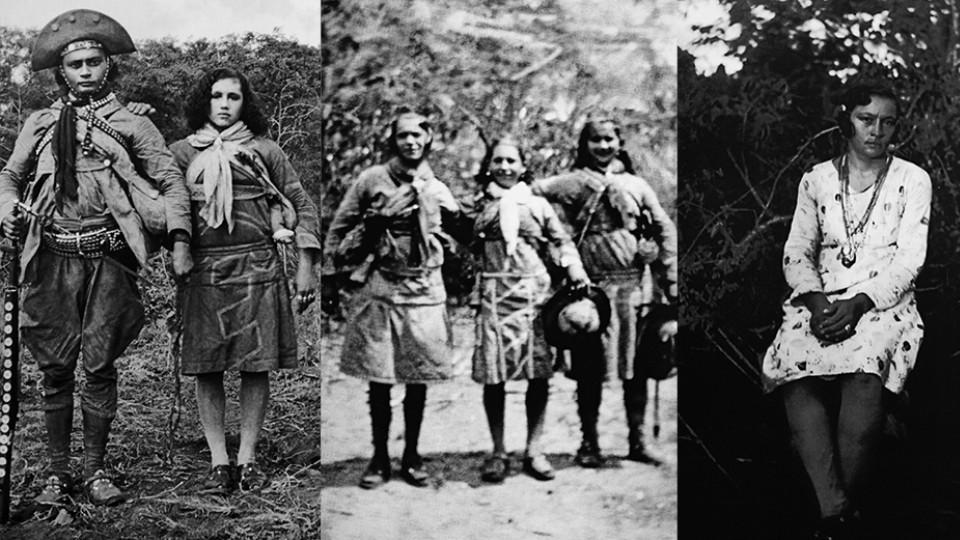 Montagem - O casal de cangaceiros Pancada e Maria Jovina; as cangaceiras Nenê, Maria Jovina e Durvinha; e Maria Gomes de Oliveira, que entraria para a história como Maria Bonita.
