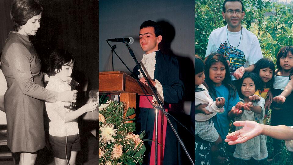 À esq., Valdeci Ferreira em sua formatura do ensino fundamental, em 1972; como orador da formatura do curso de direito, em 1994, na universidade de Itaúna; com indígenas da aldeia Uru-Eu-Wau-Wau, em Roraima, em 1999