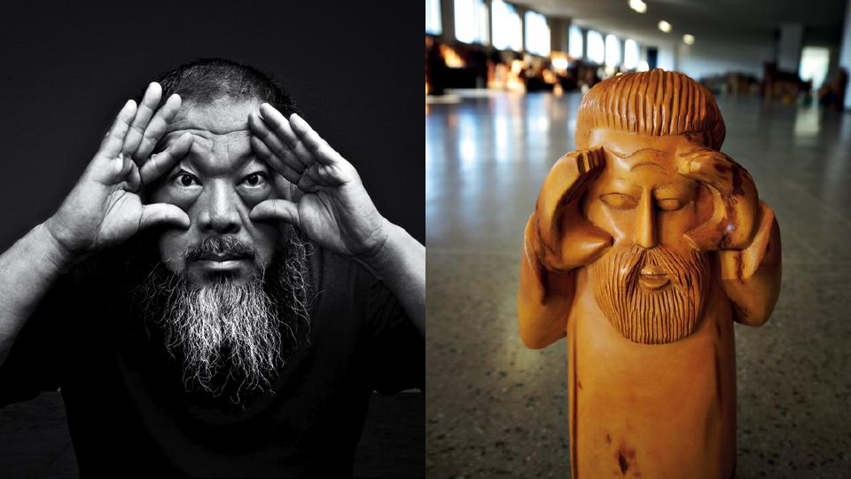Artesãos de Juazeiro do Norte, no Ceará, talharam em madeira esculturas que representam o próprio artista