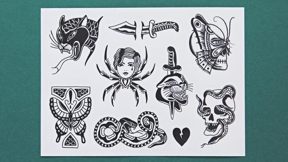 Fábio Pimentel, que assina esta cartela, é um dos oito tatuadores que integram o time da Mariposa