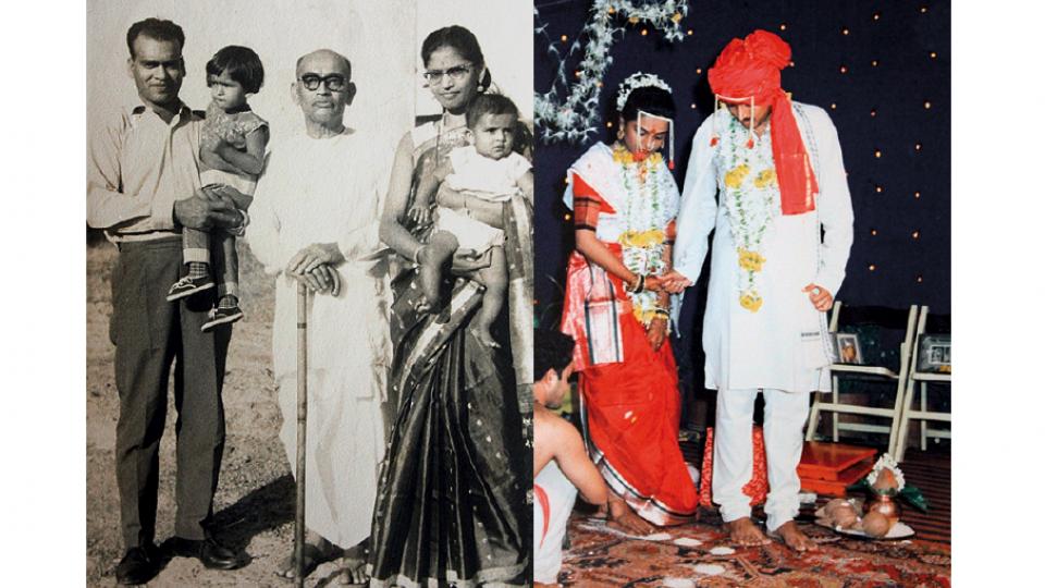 À esq., o pai de Nilima com sua irmã no colo, seu avô paterno e ela com seis meses de idade, nos braços da mãe, em Lonavala, na Índia (1967), onde nasceu. À dir., a cerimônia de casamento com Vijay Bhat.