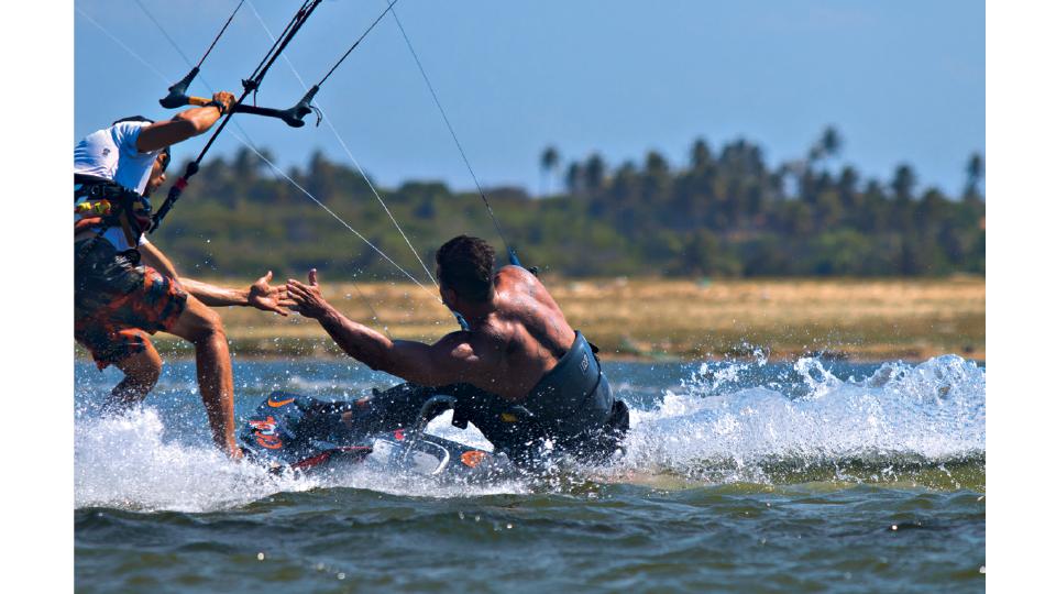 Fernando treinando na Lagoa do Cauípe (CE)
