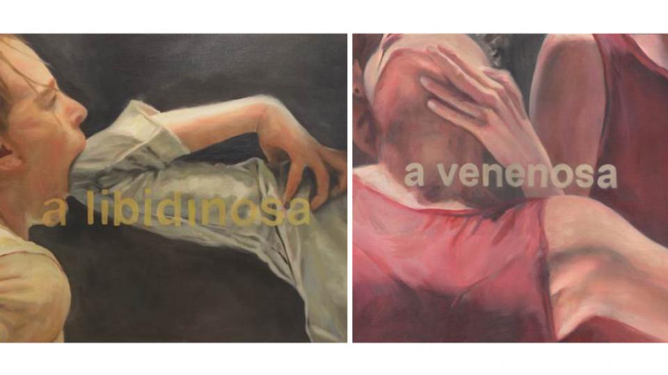 """As pinturas """"A Libidinosa"""" (2018) e """"A venenosa"""" (2019), em a a artista reflete sobre a liberdade e o feminino"""