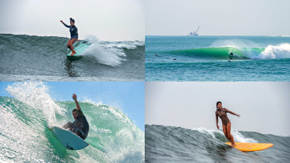 Em sentido horário: Dennis e Rafael Mellin em um secret spot das ilhas do sul do país; Hiroto Yoshikawa, três vezes campeã nacional de longboard, e Natsumi Taoka, atual bicampeã nacional  de longboard, surfando na praia de Torami.
