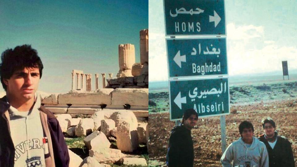 Guga e seus irmãos na entrada de Damasco para Bagdá, em road trip familiar para o Oriente Médio