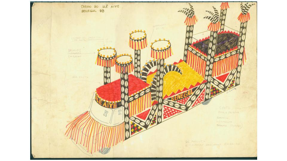 Croqui do Carro Alegórico, desenhado por J. Cunha, em 1988