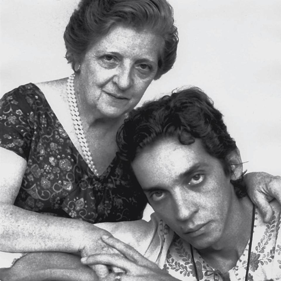 Domingos e a mãe, dona Carmelita, que morreu na década de 80.