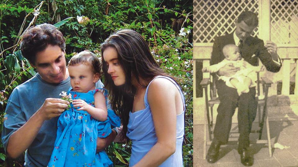 Domingos com a netinha no colo e a filha, Maria Mariana, em 2001; o cineasta ainda bebê, com o pai.