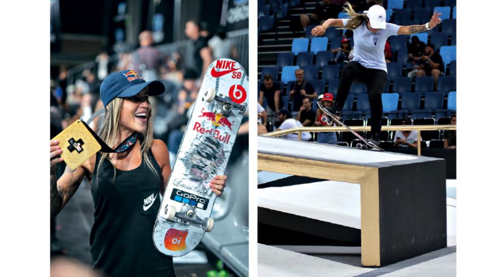 Leticia Bufoni, que mora há 12 anos nos EUA por conta do skate; Pamela Rosa disputando o Street League Skate, em 2018, no Rio