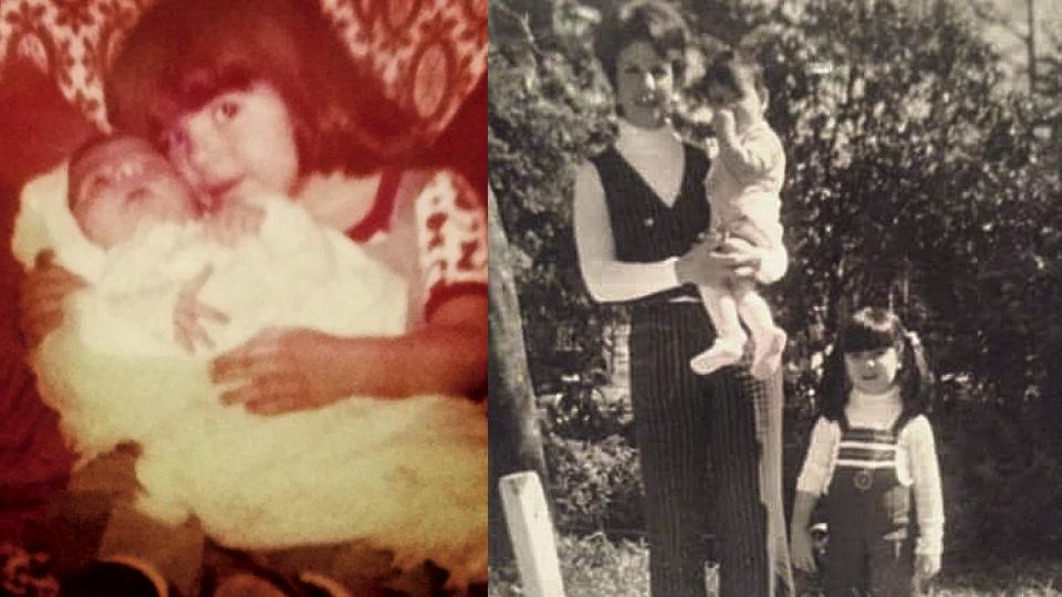 À esq., Fiamma abraçando a irmã bebê (1973); à dir., Fiamma ao lado da mãe, que segura a caçula (1974)