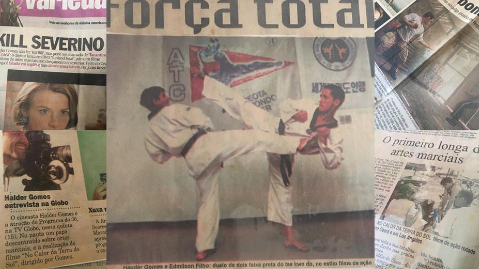 Halder com o ator Edmilson Filho, que foi aluno de sua academia de taekwondo, em Fortaleza