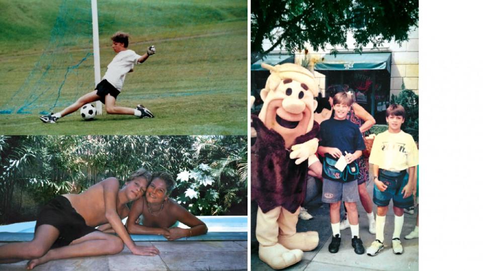 Em sentido horário, Fabio jogando futebol na adolescência; com o primo Antônio Pedro e um intruso primitivo na Universal, em Orlando, aos 12 anos; aos 14 anos com a mãe, Isabella, na piscina da casa da família, em São Paulo