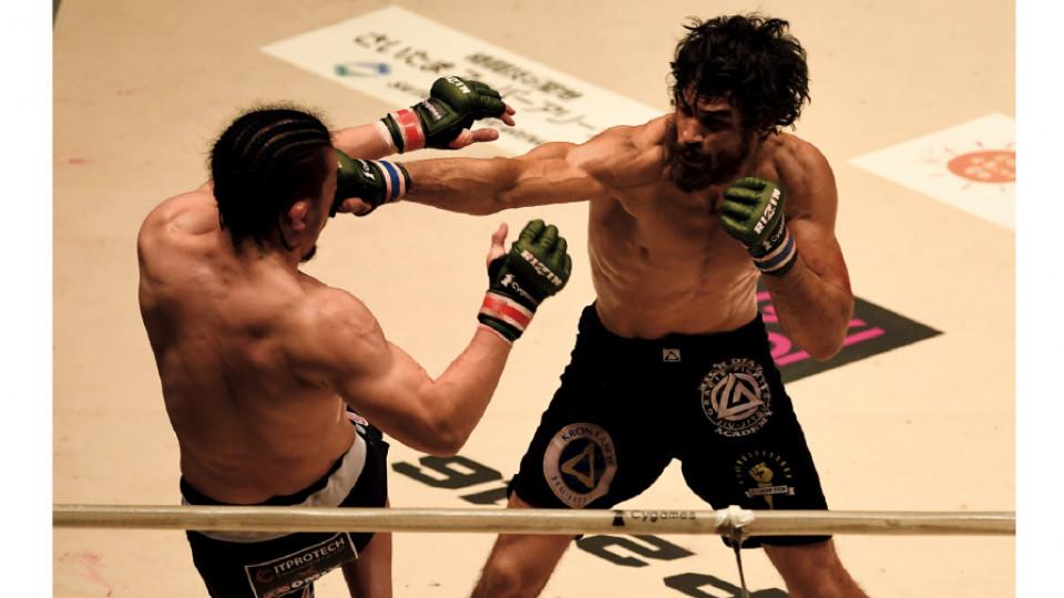 No duelo em que venceu Tatsuya Kawajiri, no Japão, em 2016