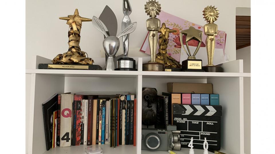 Estante com os prêmios de Karine