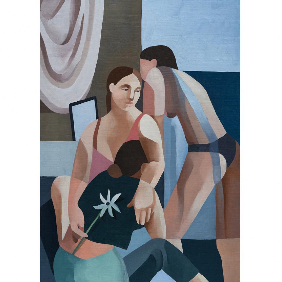 A figura feminina, sempre com semblante contemplativo, é muito presente no trabalho da pintora francesa Diane Dal-pra