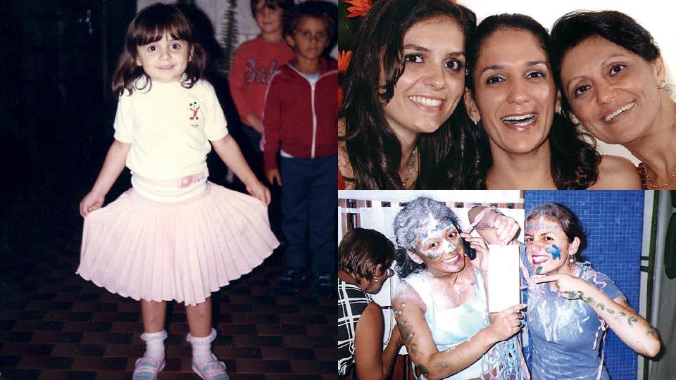 Em sentido horário, em Ribeirão Preto, onde cresceu, em 1985; com a irmã, Aline, e a mãe, Vanda, em 2003; Monica após ser aprovada no curso de artes cênicas da Unicamp, em 2002