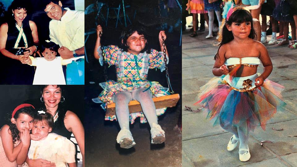 Em sentido horário, Duda entre os pais, Suyenne Bittencourt e Tarciso Simões, em seu aniversário de 2 anos; fazendo careta, no São João da escola, aos 6 anos; no carnaval do colégio (1993); no colo da mãe e ao lado da irmã, Marcela Bittencourt (1988)