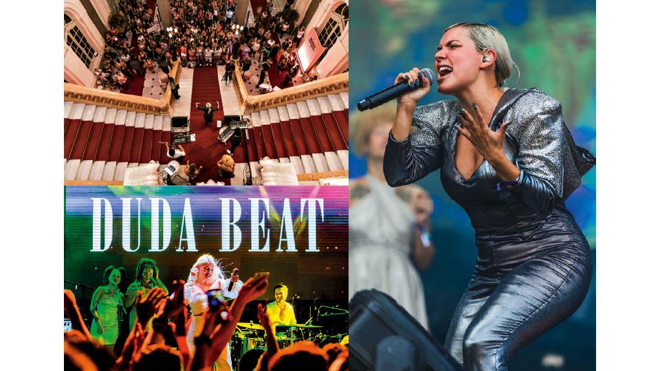 Em sentido horário, cantando na Casa Tpm, no Theatro Municipal de São Paulo, em março passado; no festival Lollapalooza, em São Paulo, neste ano; a pernambucana no réveillon de 2018, em Recife