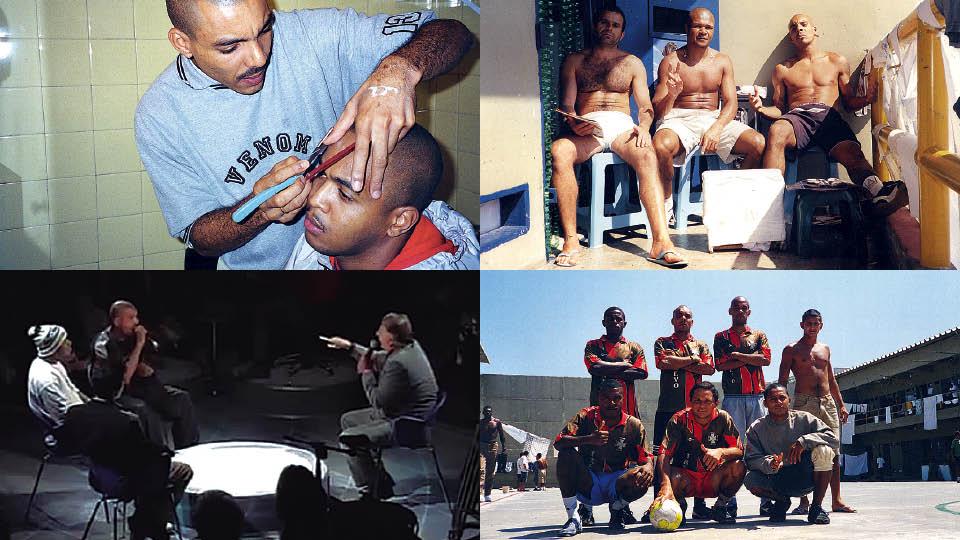 Em sentido horário, cortando o cabelo do parceiro Afro X, em 2000; com Huck e Marcos Bahia na Penitenciária 2, de Franco da Rocha (SP); com o time Al Kaeda, em 2001; O 509-E com o deputado estadual e e policial Conte Lopes, no programa Altas Horas
