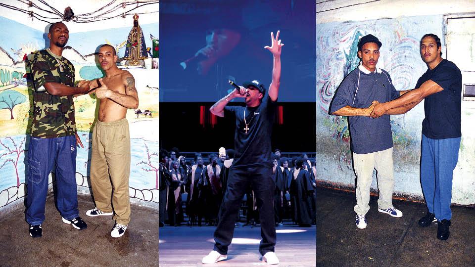 """Da esquerda para a direita, com MV Bill, no Carandiru, em 1999; Dexter homenageia Mano Brown cantando """"Diário de um detento"""" no Troféu Raça Negra 2018; com Mano Brown, também no Carandiru, em 1999"""