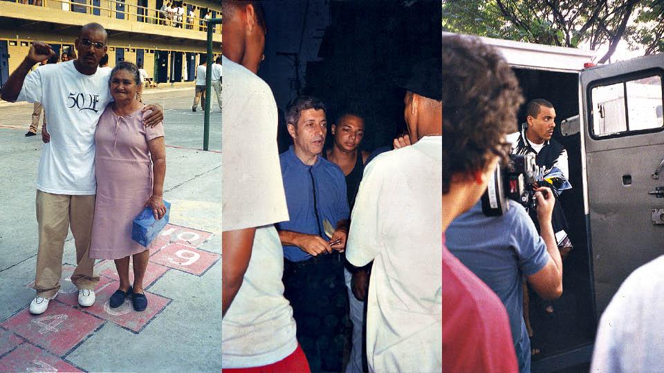 """Da esquerda para a direita, em visita da mãe em Franco da Rocha (SP); em entrevista para Caco Barcellos, na favela do Calux, em 1996; na gravação do clipe de """"Triagem"""", em 2000"""