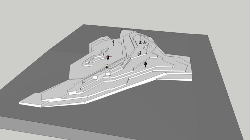 Projeção do memorial incluído no projeto após organização dos skatistas; a obra mantém o skate na rotina do Vale do Anhangabaú