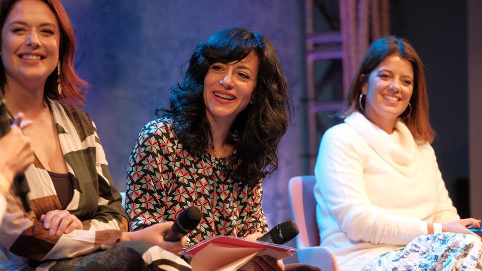 A jornalista Priscilla Portugal, a cineasta Marina Person e a executiva Renata Altenfelder