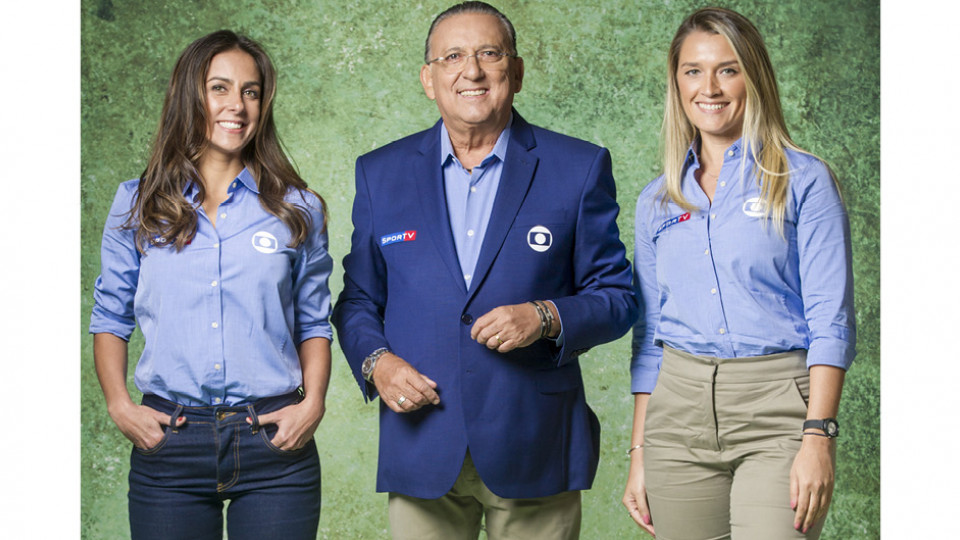 Ana Thaís Matos ao lado de Galvão Bueno e Carol Barcellos