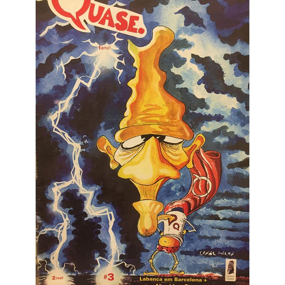 Capa da revista Quase com desenho de Daniel Furlan e colorização do cartunista FAT