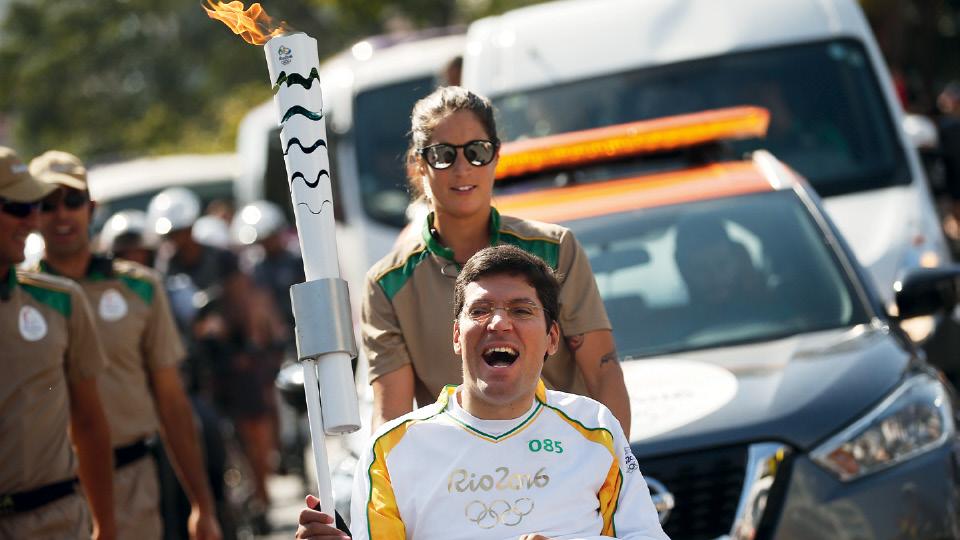 No desfile da Tocha Olímpica, em São Paulo, em 2016