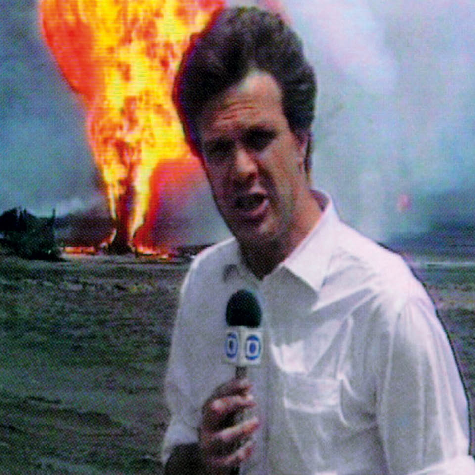 Na cobertura da Guerra do Golfo, em 1991