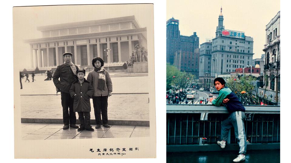 """À esq., com os pais, em Pequim, em 1980; à dir. """"Eu infeliz"""", em Xangai, em 1991"""
