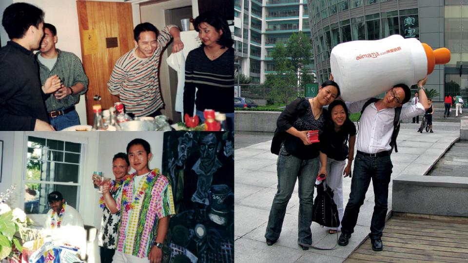 """À esq., celebrando o Ano Novo Chinês na Universidade de Michigan, em 2000; abaixo, com amigos, comemorando o dia de Ação de Graças, em São Francisco, em 2002; à dir., """"Com Su Na e outra colega de Alibaba que não lembro o nome"""", em Pequim, em 2008"""