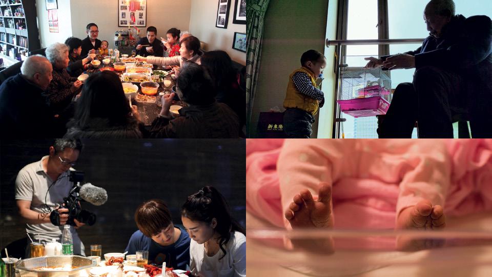Em sentido horário: em família, no Ano Novo Chinês, em Xangai; seu filho Clayton, com o avô, em Xangai; filmando People`s Republic of Desire; seu filho Leni, logo após o nascimento