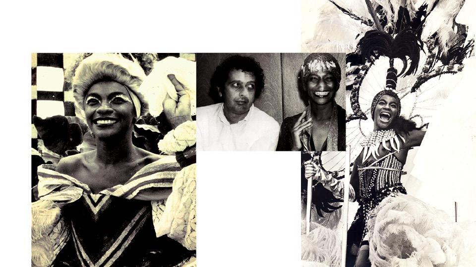 A atriz no filme Xica da Silva, em 1976; com Cacá Diegues, no lançamento do longa Quilombo, em 1984; desfilando na Império Serrano, como Xica, em 1984