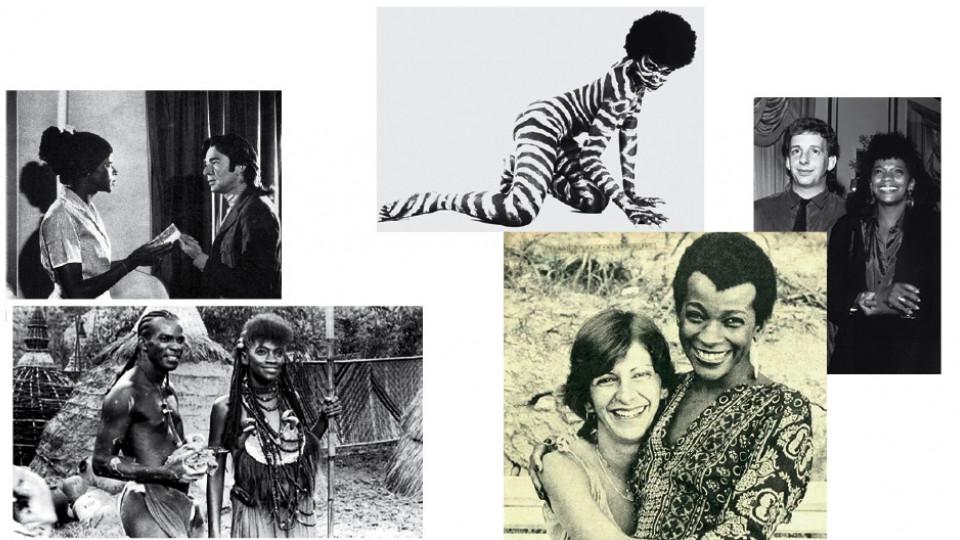 No alto, contracenando com Emiliano Queiroz, em fotonovela da revista Amiga, na década de 70; em A serpente, em 1992; no lançamento do filme, com Marco Nanini. Acima, com Antonio Pitanga, em Quilombo, em 1984; e com a amiga Marília Pêra, nos anos 80