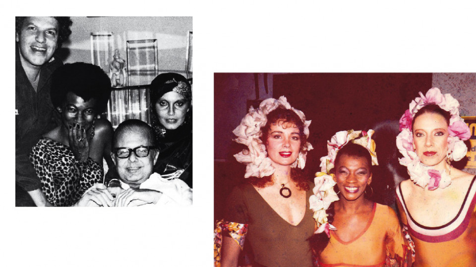 Nos anos 80: com o empresário Guilherme Araújo, Jorginho Guinle e Tânia Caldas, na boate Régine's, no Rio; com Ísis de Oliveira e Marília Gabriela, no Carnaval