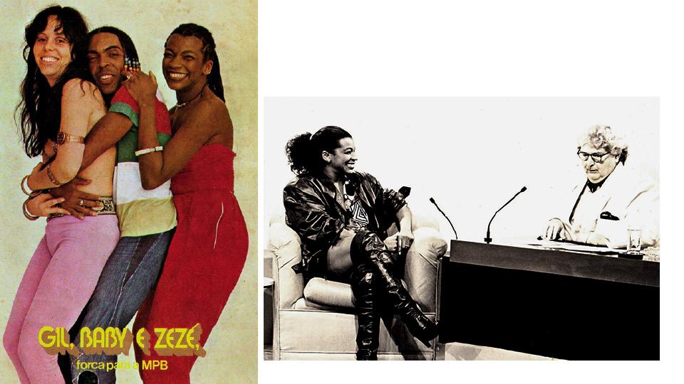 Com Baby do Brasil e Gilberto Gil, na capa da revista Música, em 1980; com Jô Soares, em 1984