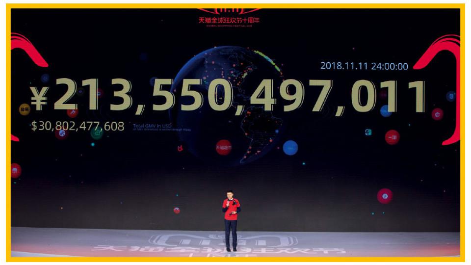 Jack Ma à frente do telão com a soma das vendas no período de 24 horas em 2018, valor recorde.
