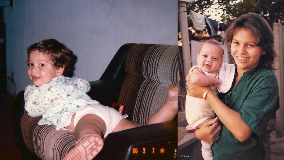 Assistindo à TV, aos 3 anos; e recém-nascido, no colo de sua mãe