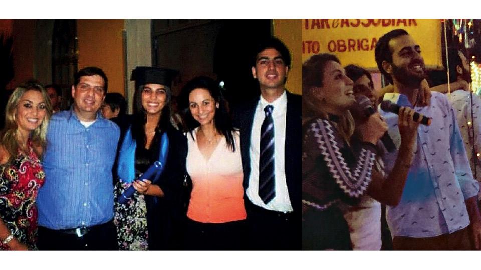 À esq., na formatura de jornalismo, da PUC-SP, com os pais, Sara e Carlos, e irmãos, Natalia e Guilherme, em 2008; À dir., com os irmãos, na Choperia Liberdade (SP), no seu aniversário de 31 anos