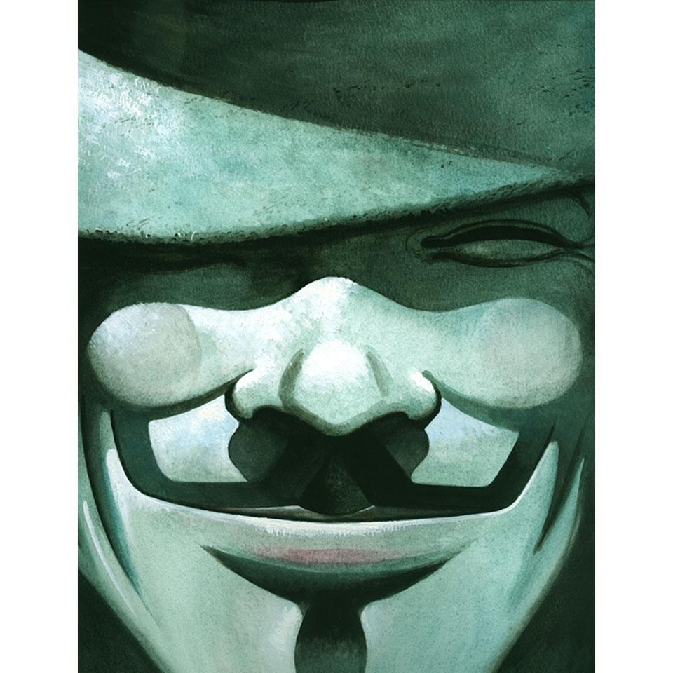 """V, o protagonista de """"V de Vingança"""" usa máscara inspirada no rosto do soldado Guy Fawkes, que tentou explodir o Parlamento Britânico, no século 17"""