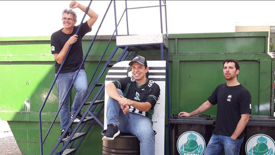 Adriano Leite, Rodrigo Oliveira e Leandro Metropolo, sócios da Green Mining no Hub Pinheiros