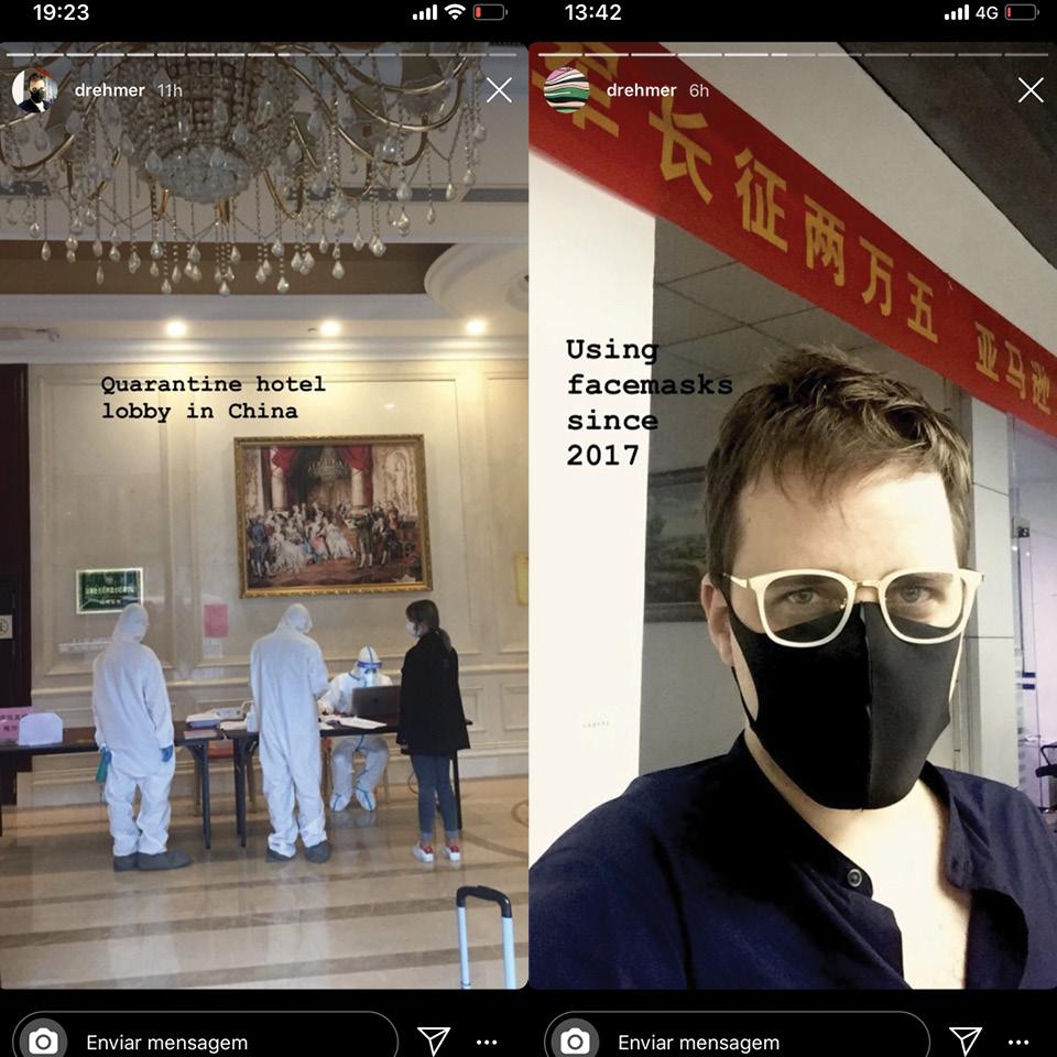 Recepção do hotel onde Luciano Drehmer, na foto à direita, está isolado