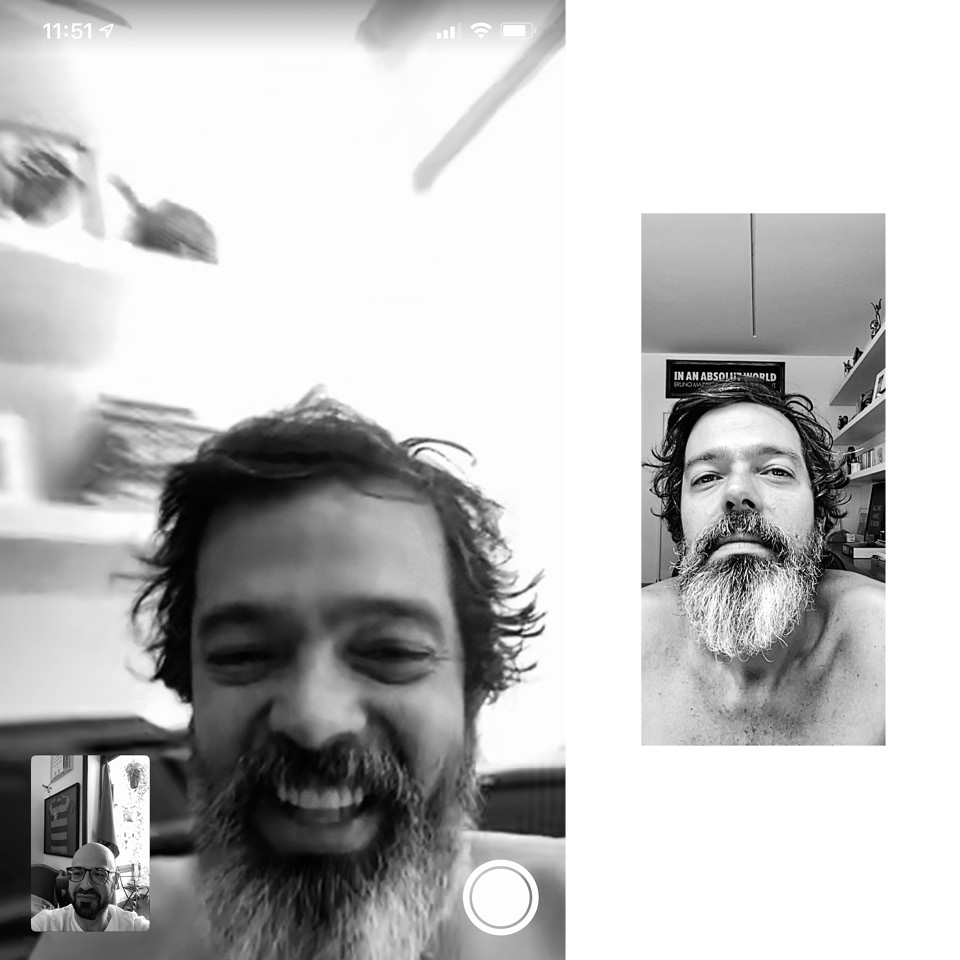 """""""O Bruno Mazzeo é meu amigo, então, a gente ia fazer. Mas ele está em casa com a mulher e os gêmeos, então, levou alguns dias para conseguir. Ele falou que estava com cabelo e barba desgrenhados, mas não tem retrato mais fiel do momento"""""""