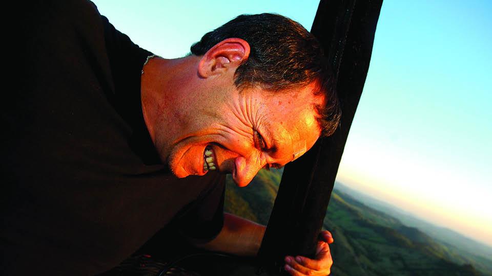 Em uma viagem de balão, em 2005