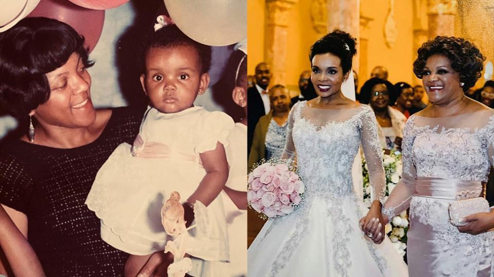Yara com a filha ainda bebê e, anos depois, no casamento de Thelminha