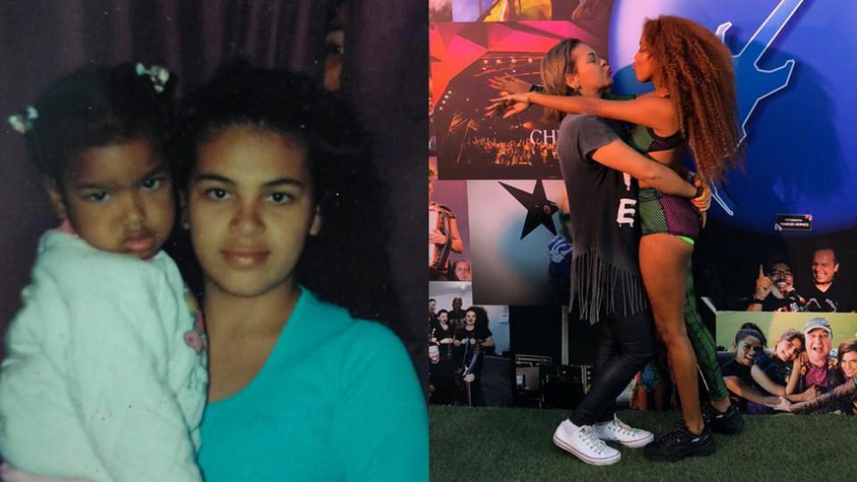 Lellê na infância no colo da mãe, Luana, e, anos depois, abraçadas durante o Rock in Rio