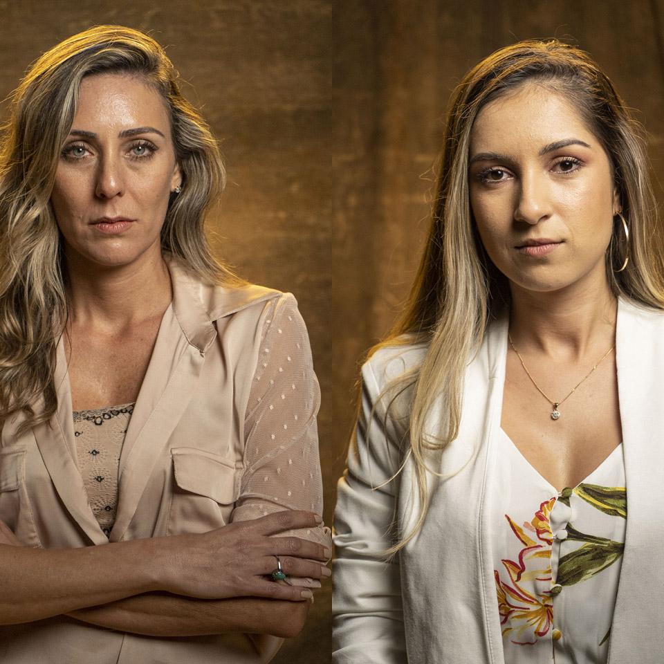 A atriz Deborah Kalume (à esq.) e a advogada Camila Ribeiro (à dir.), que foi vítima de João de Deus aos 16 anos, fez a denúncia, mas o médium foi inocentado