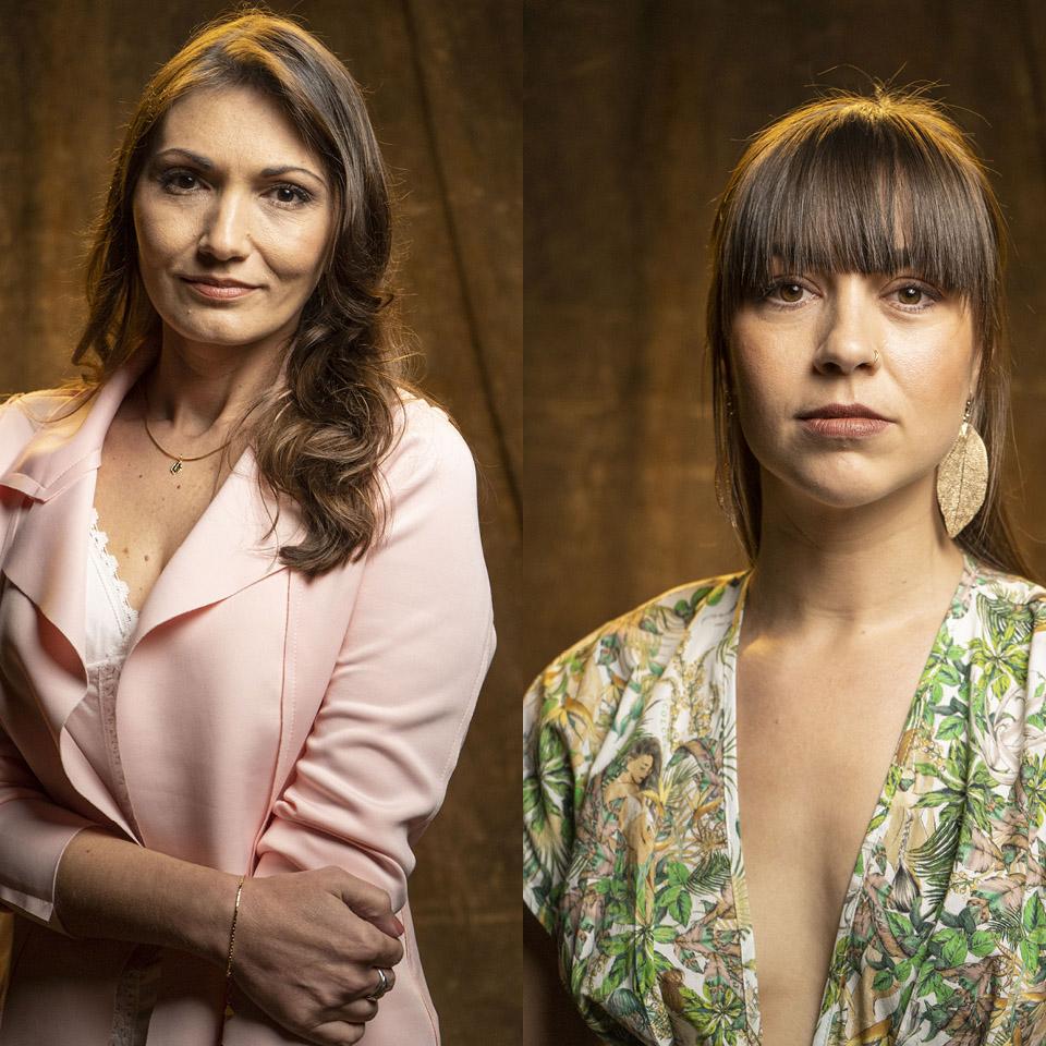 A publicitária Luana Schnorr (à esq.) e a coreógrafa holandesa Zahira Mous (à dir.), a primeira mulher a expor em rede nacional que tinha sido vítima de João de Deus